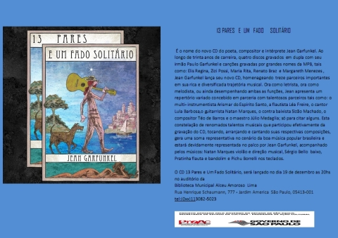 13 Pares e Um Fado Solitário -  lançamento do CD do Jean Garfunkel