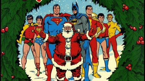 Detalhe da capa de Christmas with the Superheroes 1975 - arte de Nick Cardy