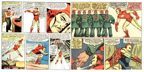 Montagem com detalhes de Tales of Suspense #54 pg04 e #55 pg11, Stan Lee & Don Heck