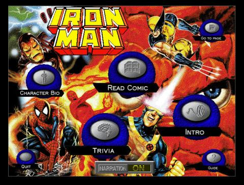Iron Man CDROM Comic Book intro screen