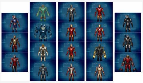 Iron Man 3 game - armaduras disponíveis