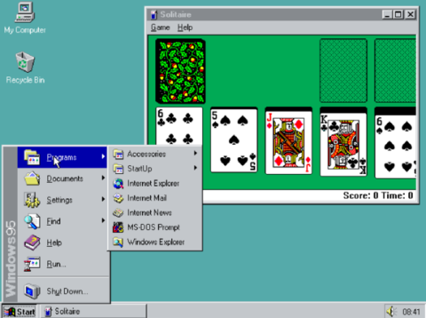 Windows 95 dashboard