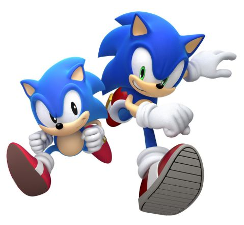 Sonic Generations Modern Sonic and Classic Sonic Artwork